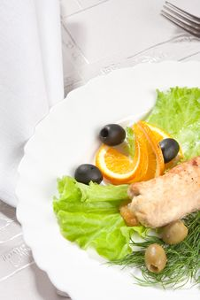 Chop Served With Salad And Olive Stock Image