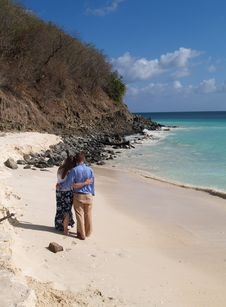Free Couple Standing On Frys Beach In Antigua Barbuda Royalty Free Stock Images - 9011159
