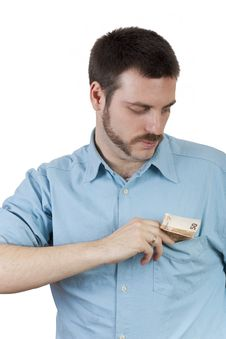 Free Man Putting Money In The Pocket Stock Photos - 9011653