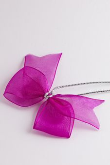 Free Pink Bow Tie Ribbon With Silver Cord Stock Image - 9012621
