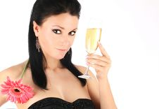 Free Beautiful Brunette With A Champagne Glass Stock Photos - 9013803