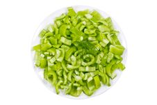 Free Green Pepper On A Plate Stock Images - 9013834