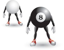 Isolated Eight Ball And Cue Ball Cartoon Character Royalty Free Stock Photo
