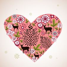 Free Flora Love Shape Card Stock Image - 9014211