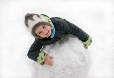 Free The Girl With The Big Snow Sphere Stock Images - 9015334