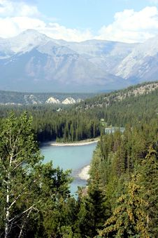 Bow River In Banff National Park, Alberta, Canada Royalty Free Stock Photography