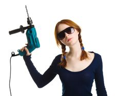 Free Girl With A Drill Stock Images - 9016244