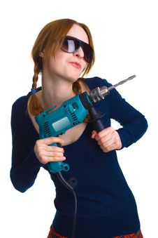 Free Girl With A Drill Royalty Free Stock Images - 9016249