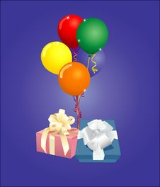 Balloons And Presents Royalty Free Stock Photo