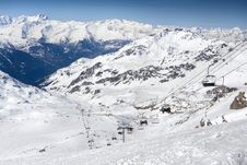 Winter Alps Landscape From Ski Resort Val Thorens Stock Images
