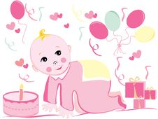 Free Baby Birthday Royalty Free Stock Photo - 9019335
