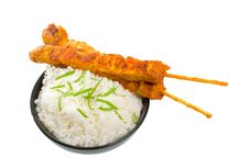 Two Chicken Satay Sticks With Rice Stock Photography