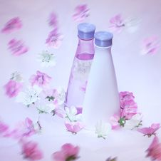 Free Cosmetic Bottles With Flowers Stock Photo - 9019660