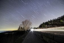 Free Star Trails Over Country Roadway At Sunset Royalty Free Stock Photos - 90156168