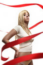 Free Beautiful Girl With Red Satin Ribbon Stock Images - 9023934
