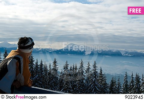 Free Skier Observing The Landscape From The Top Of The Royalty Free Stock Photo - 9023945