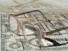 Free Blueprints And Glasses Royalty Free Stock Images - 9020819