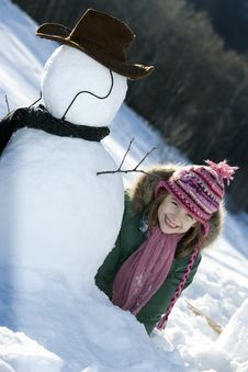 Free Young Girl Posing With Her Snowman Royalty Free Stock Photo - 9021045