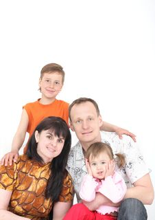 Free Happy Family From Four Person Stock Images - 9021824