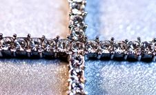 Free Silver Cross With Brilliants Royalty Free Stock Images - 9022249