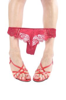 Free Sexy Legs And Shoes With Red Underwear Over White Royalty Free Stock Photography - 9022257