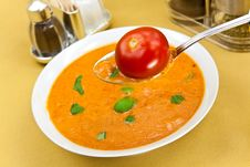 Free Soup From Beet And Tomato  With Sour Cream, View F Royalty Free Stock Photos - 9023028