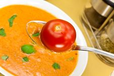 Free Soup From Beet And Tomato  With Sour Cream, View F Stock Photography - 9023042