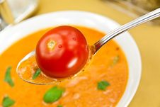 Free Soup From Beet And Tomato  With Sour Cream, View F Royalty Free Stock Images - 9023059