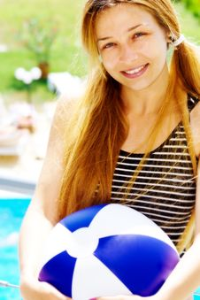 Free Happy Beautiful Woman With Ball On Holiday Royalty Free Stock Images - 9023489
