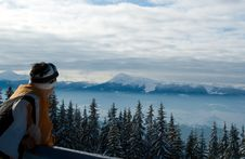 Skier Observing The Landscape From The Top Of The Royalty Free Stock Photo