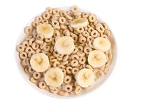Bowl Of Toasted Oats Cereal Royalty Free Stock Photography