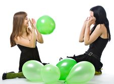 Free Two Young Girls With Green Ballons Royalty Free Stock Images - 9027329