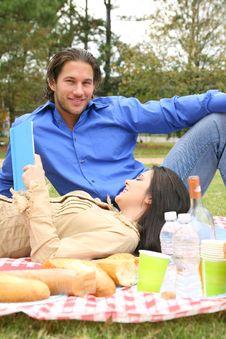 Couple Enjoying Summer Picnic Outdoor Royalty Free Stock Photo