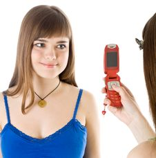 Free Two Teenage Girls Photographing On Mobile Phone Stock Image - 9027521
