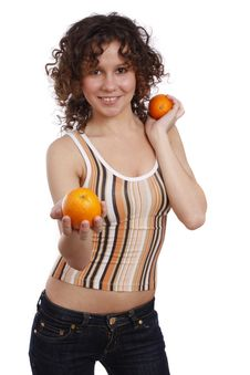 Free Smiling Healthy Woman Is Holding The Oranges. Stock Photo - 9027780