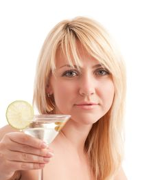 Free Girl Hold Glass With Martini Cocktail Stock Photos - 9028933