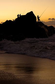 Free The Silhouette Of Fishermen Stock Photography - 9029452