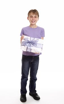 Free Boy With A Mother S Day Or Birthday Present Royalty Free Stock Photos - 9029568