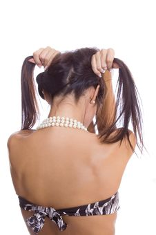 Free Back Of A Young Woman With A Pigtail Royalty Free Stock Images - 9029759