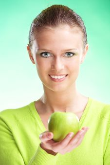 Free Young Beauty Woman With Apple Stock Images - 9029934