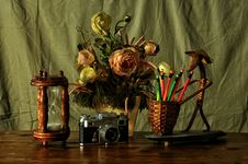 Free Still Life With Flowers, Timer  And Retro Camera Royalty Free Stock Image - 90213966