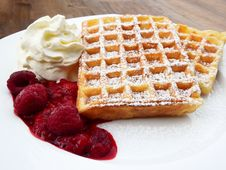Free Waffle Beside Cherry And Ice Cream Stock Photo - 90214290