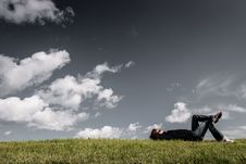 Free Man Lying On Grass With Hands On Head Royalty Free Stock Photos - 90278828