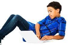 Free Teenage Boy Using Laptop Stock Images - 9032814