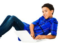 Free Teenage Boy Using Laptop Stock Image - 9032961