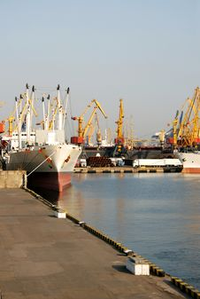 Dry-cargo Ships At A Mooring In Port Stock Photography