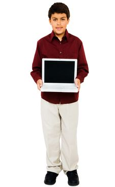 Free Child Showing Laptop Royalty Free Stock Photo - 9033305