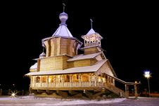 The Old-time Wooden Church. Royalty Free Stock Images