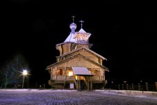 The Old-time Wooden Church. Royalty Free Stock Image