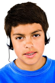 Portrait Of Boy Listening Music Royalty Free Stock Images